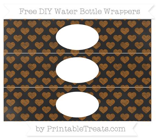 Free Brown Heart Pattern Chalk Style DIY Water Bottle Wrappers