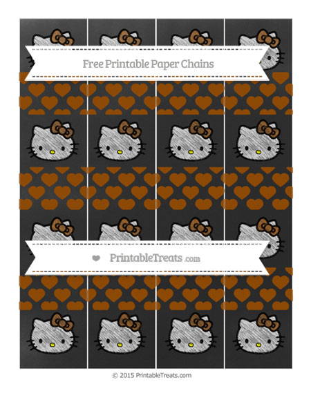 Free Brown Heart Pattern Chalk Style Hello Kitty Paper Chains