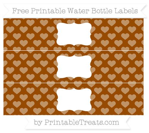 Free Brown Heart Pattern Water Bottle Labels