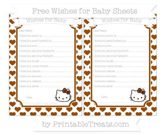 Free Brown Heart Pattern Hello Kitty Wishes for Baby Sheets