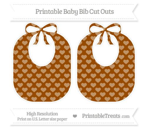 Free Brown Heart Pattern Large Baby Bib Cut Outs