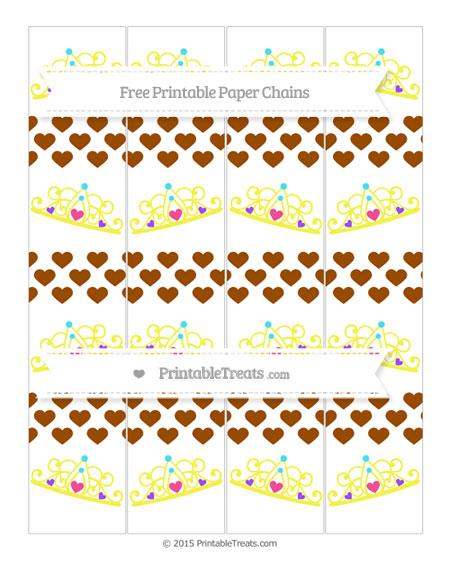 Free Brown Heart Pattern Princess Tiara Paper Chains
