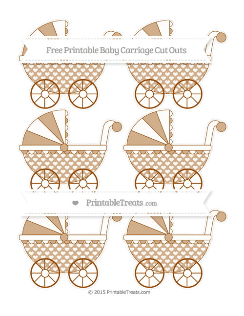 Free Brown Heart Pattern Small Baby Carriage Cut Outs