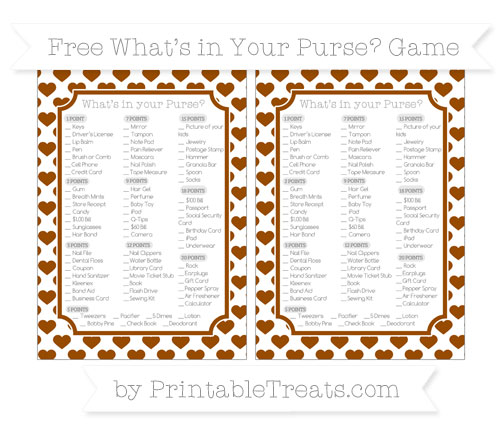 Free Brown Heart Pattern What's in Your Purse Baby Shower Game