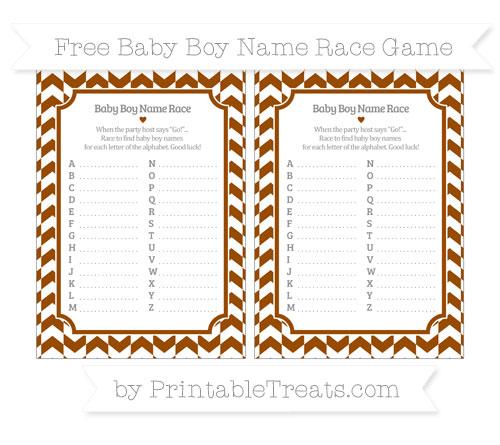 Free Brown Herringbone Pattern Baby Boy Name Race Game