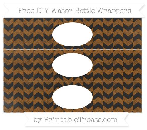 Free Brown Herringbone Pattern Chalk Style DIY Water Bottle Wrappers