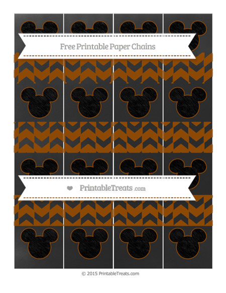 Free Brown Herringbone Pattern Chalk Style Mickey Mouse Paper Chains