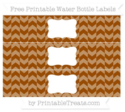 Free Brown Herringbone Pattern Water Bottle Labels