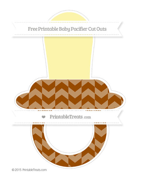 Free Brown Herringbone Pattern Extra Large Baby Pacifier Cut Outs