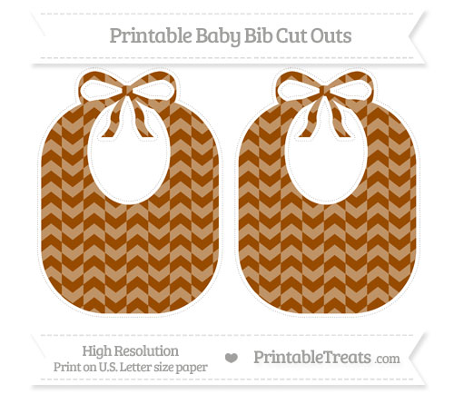 Free Brown Herringbone Pattern Large Baby Bib Cut Outs