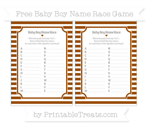 Free Brown Horizontal Striped Baby Boy Name Race Game
