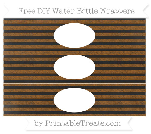 Free Brown Horizontal Striped Chalk Style DIY Water Bottle Wrappers