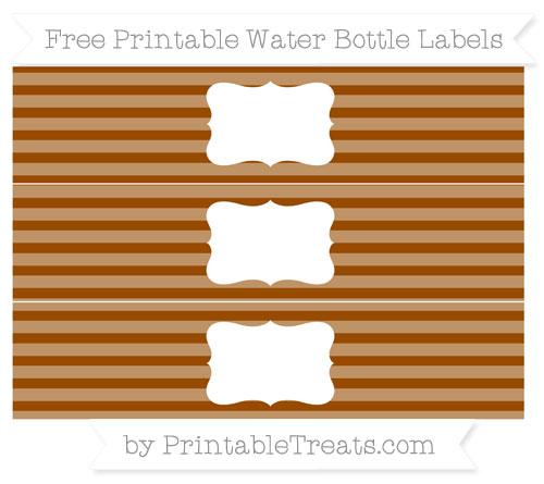 Free Brown Horizontal Striped Water Bottle Labels