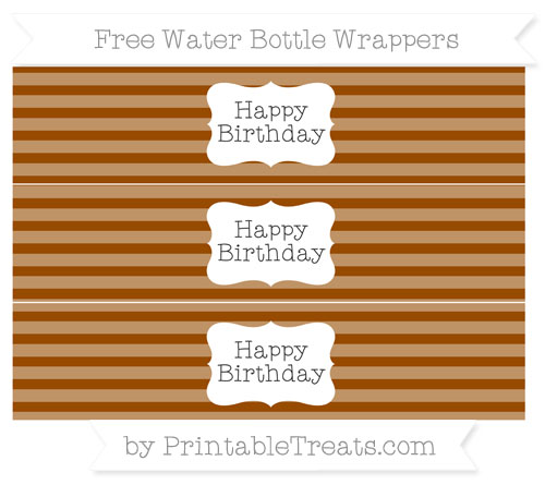 Free Brown Horizontal Striped Happy Birhtday Water Bottle Wrappers