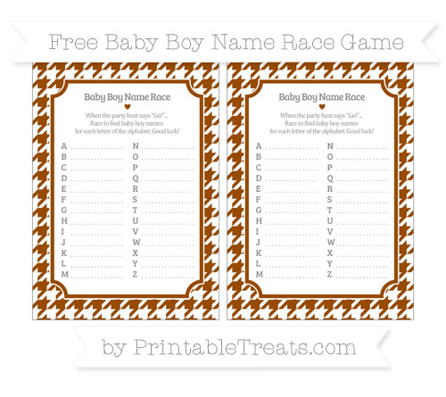 Free Brown Houndstooth Pattern Baby Boy Name Race Game