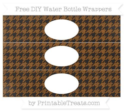 Free Brown Houndstooth Pattern Chalk Style DIY Water Bottle Wrappers