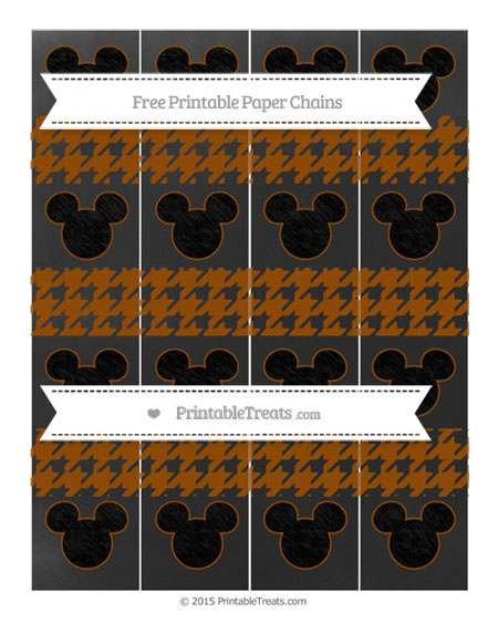 Free Brown Houndstooth Pattern Chalk Style Mickey Mouse Paper Chains