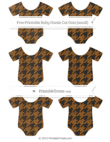 Free Brown Houndstooth Pattern Chalk Style Small Baby Onesie Cut Outs