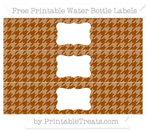 Free Brown Houndstooth Pattern Water Bottle Labels