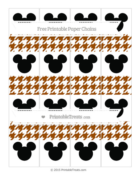 Free Brown Houndstooth Pattern Mickey Mouse Paper Chains