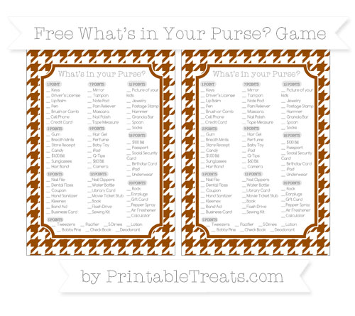 Free Brown Houndstooth Pattern What's in Your Purse Baby Shower Game