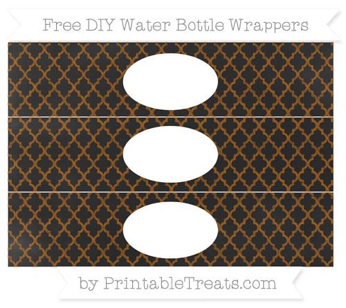 Free Brown Moroccan Tile Chalk Style DIY Water Bottle Wrappers