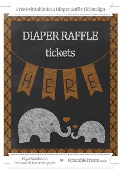 Free Brown Moroccan Tile Chalk Style Elephant 8x10 Diaper Raffle Ticket Sign