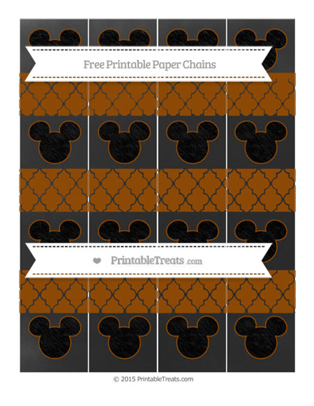 Free Brown Moroccan Tile Chalk Style Mickey Mouse Paper Chains