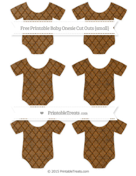 Free Brown Moroccan Tile Chalk Style Small Baby Onesie Cut Outs