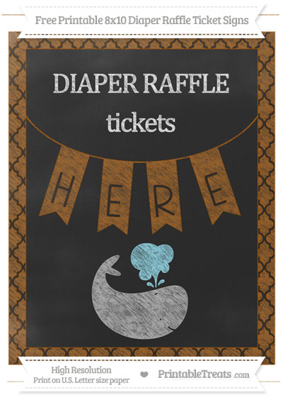 Free Brown Moroccan Tile Chalk Style Whale 8x10 Diaper Raffle Ticket Sign