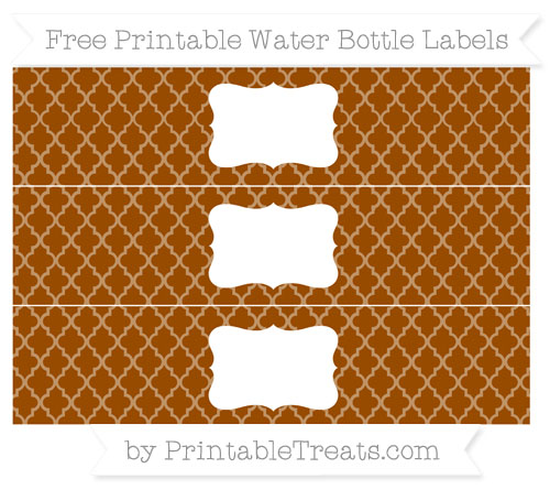 Free Brown Moroccan Tile Water Bottle Labels