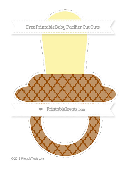 Free Brown Moroccan Tile Extra Large Baby Pacifier Cut Outs