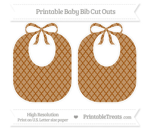 Free Brown Moroccan Tile Large Baby Bib Cut Outs