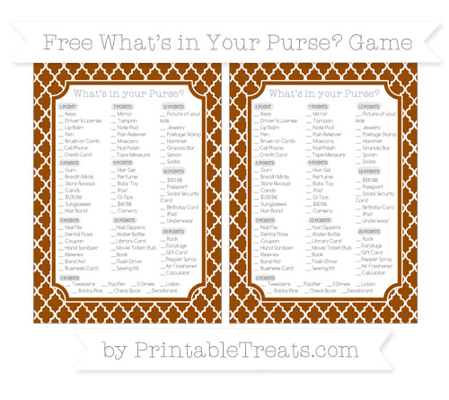Free Brown Moroccan Tile What's in Your Purse Baby Shower Game