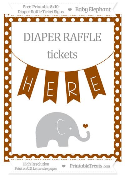 Free Brown Polka Dot Baby Elephant 8x10 Diaper Raffle Ticket Sign