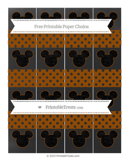 Free Brown Polka Dot Chalk Style Mickey Mouse Paper Chains
