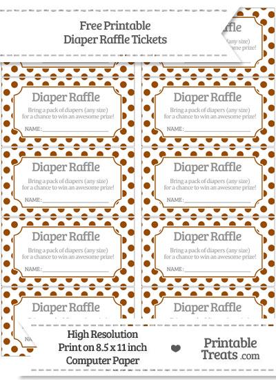 Free Brown Polka Dot Diaper Raffle Tickets