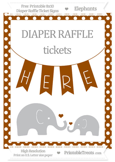 Free Brown Polka Dot Elephant 8x10 Diaper Raffle Ticket Sign