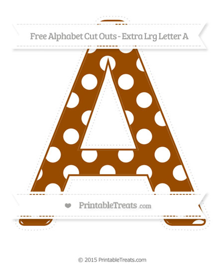 Free Brown Polka Dot Extra Large Capital Letter A Cut Outs