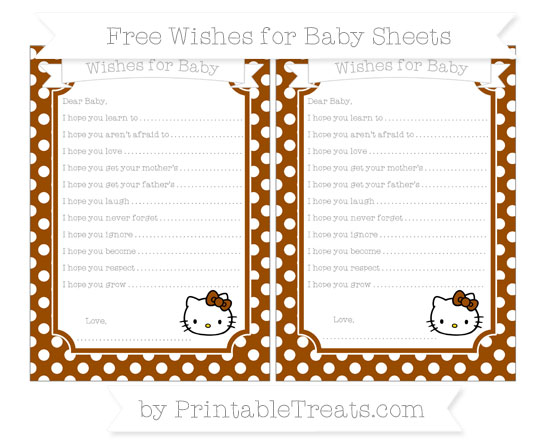 Free Brown Polka Dot Hello Kitty Wishes for Baby Sheets
