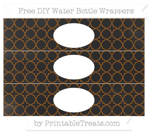 Free Brown Quatrefoil Pattern Chalk Style DIY Water Bottle Wrappers