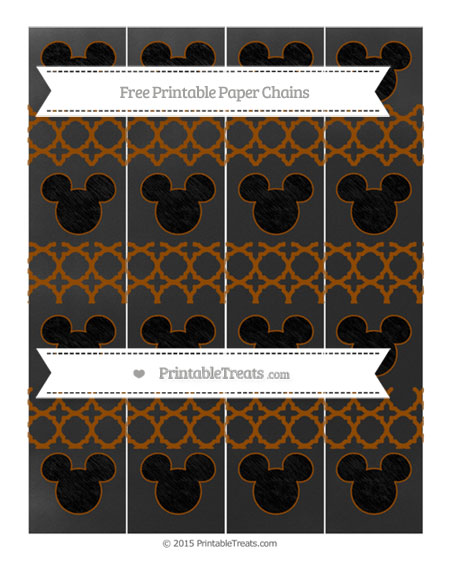 Free Brown Quatrefoil Pattern Chalk Style Mickey Mouse Paper Chains