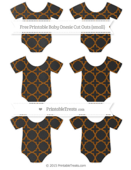 Free Brown Quatrefoil Pattern Chalk Style Small Baby Onesie Cut Outs