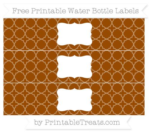 Free Brown Quatrefoil Pattern Water Bottle Labels