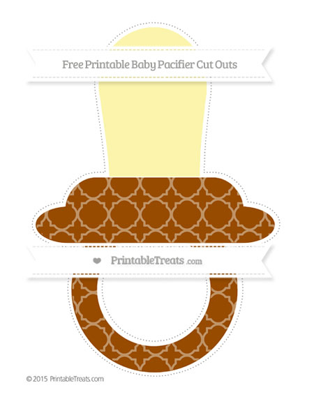 Free Brown Quatrefoil Pattern Extra Large Baby Pacifier Cut Outs