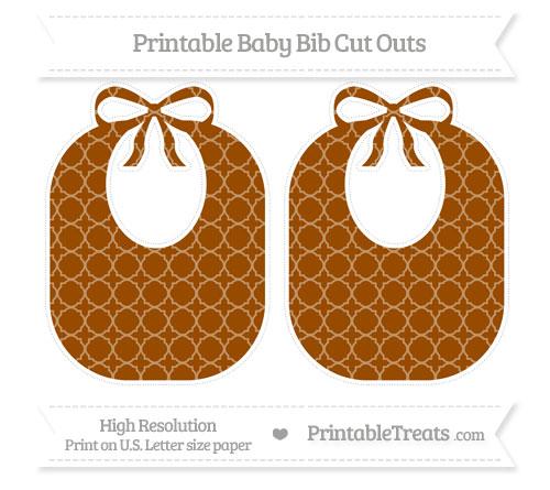 Free Brown Quatrefoil Pattern Large Baby Bib Cut Outs