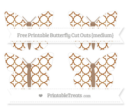 Free Brown Quatrefoil Pattern Medium Butterfly Cut Outs