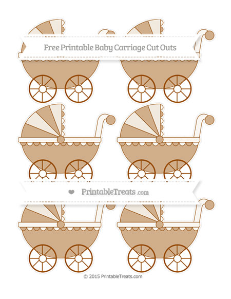 Free Brown Small Baby Carriage Cut Outs