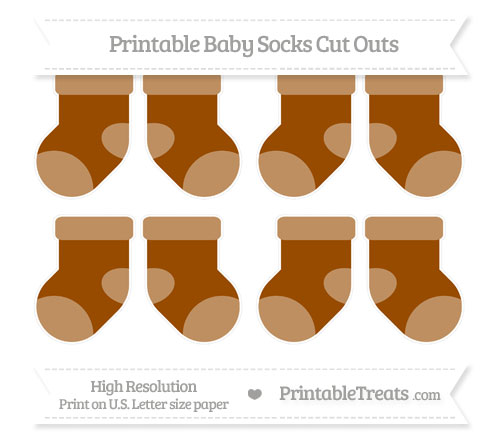 Free Brown Small Baby Socks Cut Outs