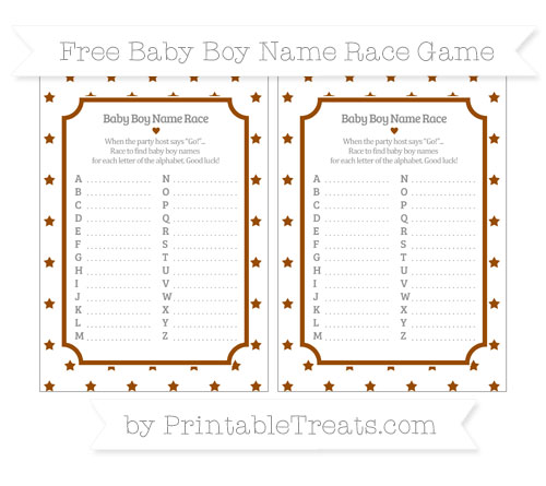 Free Brown Star Pattern Baby Boy Name Race Game